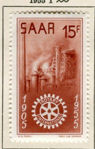 SAARLAND; 1955 early Rotary Fund issue fine Mint hinged 15f. value