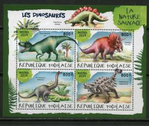 TOGO 2019  DINOSAURS  SET OF TWO  SHEETS   MINT NEVER HINGED
