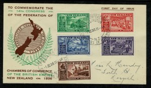 NEW ZEALAND KGVI 1936 F.D.C. OFFICIAL COVER & POSTMARK IN GOOD CONDITION SG593-7