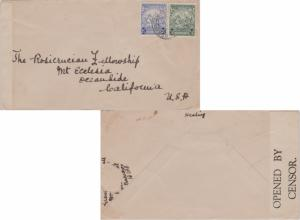 Barbados 1/2d and 2d Seal of the Colony c1942 Barbados to Oceanside, Calif. B...