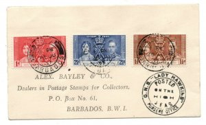 Barbados 1937 Coronation cover Lady Hawkins 'Posted on the High Seas' WS24277