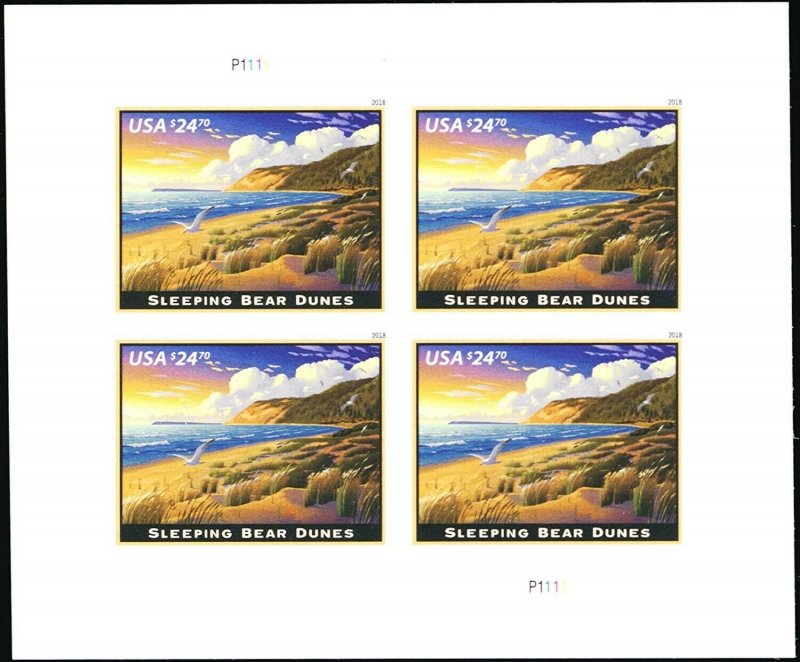 Sleeping Bear Dunes $24.70 Express Mail Sheet of Four Stamps Scott 5258