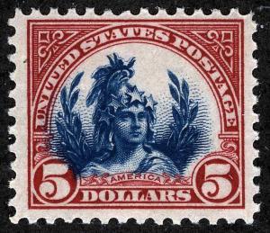 US Sc 573 Carmine and Blue $5.00 p.11 MNH Original Gum