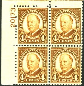 U.S. #685 MINT PL# BLOCK OF 4 OG NH