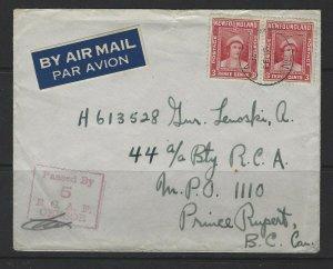 CANADA -NEWFOUNDLAND CAPO NO 5 1944 CENSORED COVER TO PRINCE RUPERT, BC C.A.P.O.