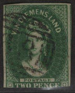 $Tasmania Sc#5 used, fine, wmk#6, Cv. $500