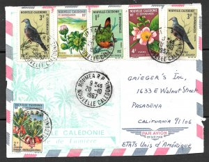 NEW CALEDONIA 1967 BIRDS and FLOWERS 6 Stamp Cover to USA