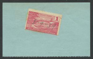 #RVT2 $1 1939 ZION & BRYCE CANYON NAT'L TRAILER PARK STAMP ON BACK F-VF HW4694