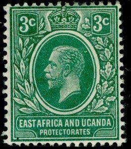 EAST AFRICA and UGANDA SG45, 3c green, M MINT. WMK MULT CA