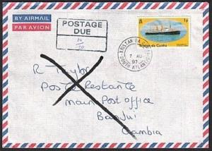 TRISTAN DA CUNHA 1997 Returned postage due cover to Gambia.................78820