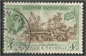 BRITISH HONDURAS , 1953, used..4c, Pine industry Scott 147
