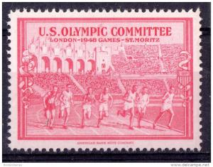 1948 London US Olympic Committee St Moritz Mint cinderella MY218