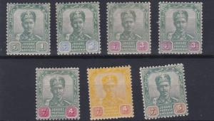 JOHORE  1896 - 99     S G  39 - 44   VARIOUS VALUES TO 5C  MH SOME HINGE REMAINS
