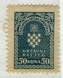 CROATIA; 1940s early classic Revenue/Fiscal issue fine mint 50k. value