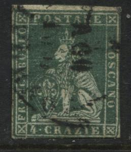 Italian States Tuscany 1851 4 crazie green imperfect used