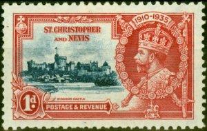 St Christopher & Nevis 1935 1d Dp Blue & Scarlet SG61k Kite & Vertical Log Fi...