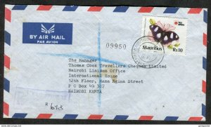 d261 - MAURITIUS 1993 Registered Cover to Kenya. BUTTERFLY Stamp