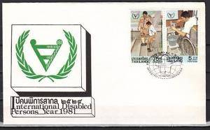 Thailand, Scott cat. 958-959. Year of Disabled w/Scout issue. First day cover.
