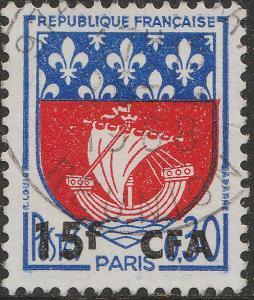 ILE DE LA RÉUNION - 1965 Yv.350A/Mi.438 15fr CFA / 0fr30 Paris Obl. TB