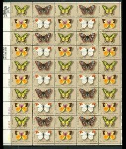 1712 - 1715 13¢ Butterflies, VF OG NH, Full Sheet of 50