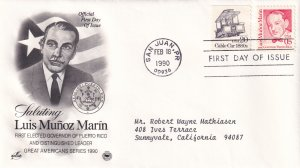 1990, Honoring Luis Munoz Marin, Art Craft/PCS, FDC (E12211)