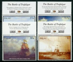 Palau 2005 MNH Battle of Trafalgar 200 HMS Victory 4v Set Boats Ships Stamps