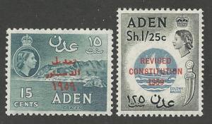 Aden # 63-64  Revised Constitution o/pt  (2) VF Unused VLH