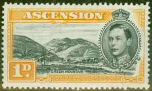 Ascension 1940 1d Black & Yellow-Orange SG39a V.F Very Lightly Mtd Mint