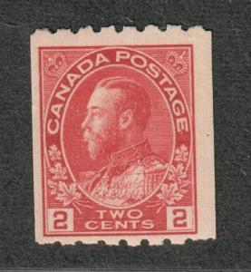 Canada Sc#124, M/NH/F-VF, Perf. 8, Coil Stamp, Cv. $275