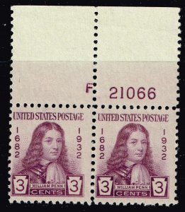 US STAMP #724 – 1932 3c William Penn PL# MNH/OG PAIR