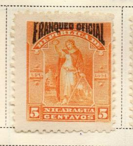 Nicaragua 1894 Early Issue Fine Mint Hinged 5c. Official Optd 323729