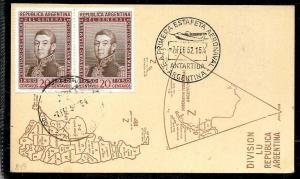 AANT-214 ARGENTINA ANTARCTICA 1952 1° AERONAVAL POST OFFICE STATION,CARD MAP