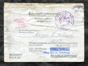 d958 - SERBIA WW2 1942 Letter Card to POW Camp in Germany. Contents