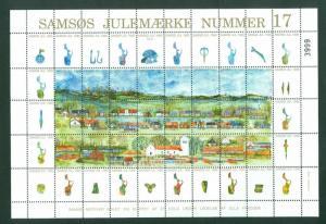Denmark. Christmas Sheet Local Samso  # 17. 1995. Church,Lighthouse,Farms.
