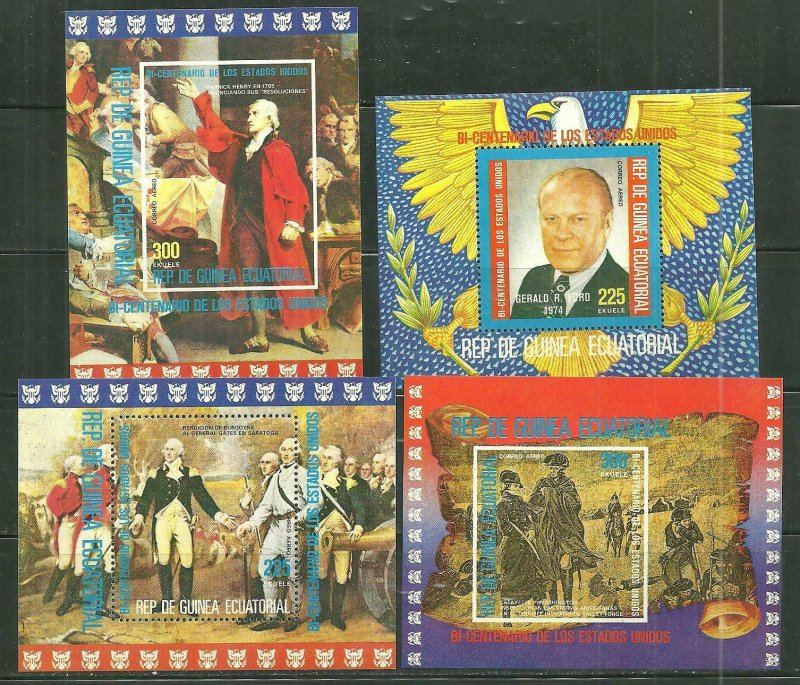 Equatorial Guinea MNH 4-S/S U.S. Bi-Centennial