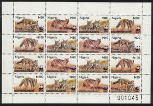 Nigeria WWF Side-striped Jackal Sheetlet of 4 sets SG#809-812 MI#762-765