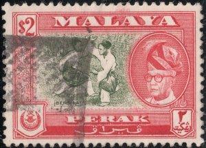 Perak 1961 QEII $2 Bronze-Green & Scarlet Perf 13x12½ Used