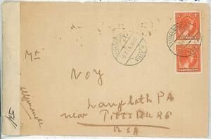 27215   -  POSTAL HISTORY: LUXEMBOURG -  COVER to USA 1945 w\ RARE  CENSURE BAND