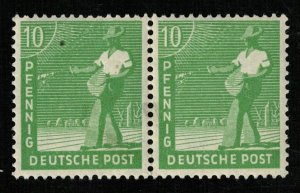 1947, Working Men, Deutsche Post, 10Pfg., Pair (T-9407)