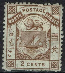 NORTH BORNEO 1886 ARMS 2C PERF 14 PART GUM