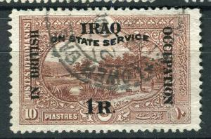 IRAQ; 1920 BRITISH OCC. SERVICE Optd. issue used 1R. value + good POSTMARK