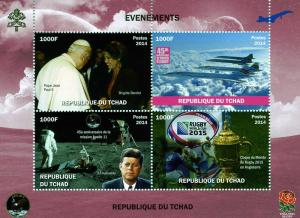 Chad 2014 Kennedy CONCORDE Pope John Paul II Sheet Perforated mnh.vf
