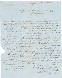 VEGAS - 1850 France Personal Stampless Letter/Cover - (DP149)