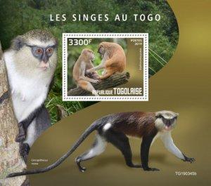 TOGO - 2019 - Monkeys in Togo - Perf Souv Sheet - MNH