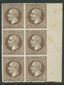 HANNOVER GERMANY - an old forgery of a classic stamp - block of 6..........50530