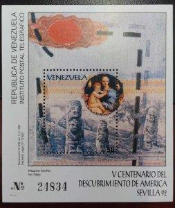 L) 1992 VENEZUELA, V CENTENARY OF THE DISCOVERY OF AMERICA, ART, SCULTURE, SEVIL
