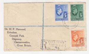 BRITISH VIRGIN ISLANDS, 1946 Reg. cover, KGVi 1/2d., 2 1/2d.. & 3d. to GB.
