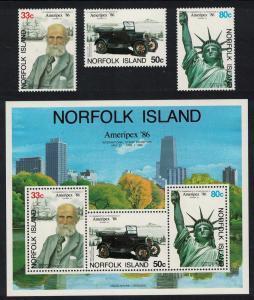 Norfolk 'Ameripex '86' International Stamp Exhibition Chicago 3v+MS SG#385-MS388