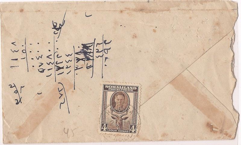 Somaliland KGVI 4a Goat on cover to Aden Mukalla (bam)