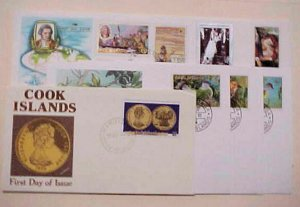 COOK ISLANDS  8 DIFF. FDC 1968-1989 CACHET UNADDRESSED